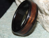 Ebony Bent Wood Ring with a Desert Ironwood Inlay (In Stock Size: 11; 7mm Width) // Wooden Wedding Ring // Wood Wedding Band