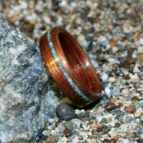 Set Of Custom Wooden Rings With Crushed Stone Inlay Bent Wood