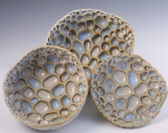 Wall Sculpture Set. Round Centerpiece, decorative bowl set. Contemporary Blue and white, Interior Design, Honeycomb dishes