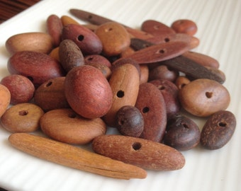 Small Australian Recycled Wooden Beads x 10