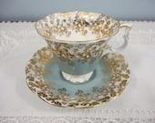 Royal Albert Cascade Series Teacup & Saucer - Light Blue Gray with Filigree Gilt Details - Mint