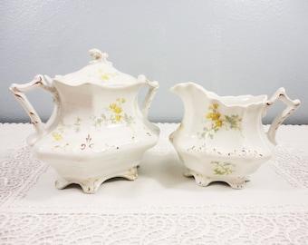W.H. Grindley & Co Dainty Yellow Floral Creamer and Sugar - Circa 1909