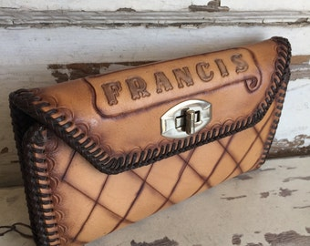 Vintage Hand Tooled Leather Wallet - Francis - Love - Blue Suede Lining