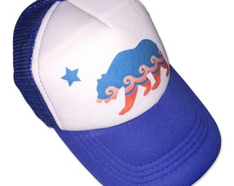 California Bear Blue Infant/Kids Trucker Hat
