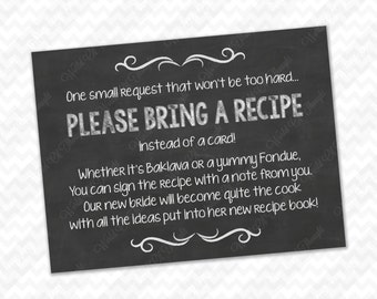 Please Bring a Recipe Instead of a Card! Insert for Bridal Shower Invitations - Cookbook Gift Idea with Rustic Chalkboard Burlap Theme DIY