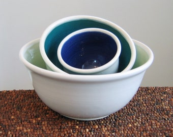 Ceramic Nesting Bowls in Cool Tones - Wedding Gift - Stoneware Pottery Prep Bowl Set