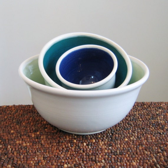 Ceramic Nesting Bowls in Cool Tones Wedding Gift Stoneware
