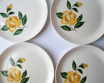Vintage Dinner Plates Salem Yellow Rose Set of Four - Cottage Charm