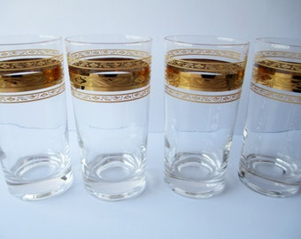 Glass Tumblers Gold Trimmed Set of Four - Retro Vintage
