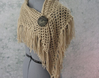 Crochet Pattern Womens Shawl Triangle Fringed Wrap Or Scarf With Button Closure Instant Download May Resell Finished