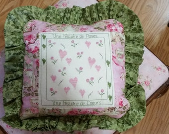 Cross Stitch Pink Hearts and Roses Pillow