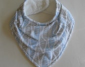 Bandana Bib, Drool Bib, Blue and Gray, Baby Bib, Flannel, Micro Fleece