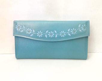 Vintage 70s Baby Blue Wallet - Flower Power Detail- Check Book - Credit Card Holder - Change purse - Unused