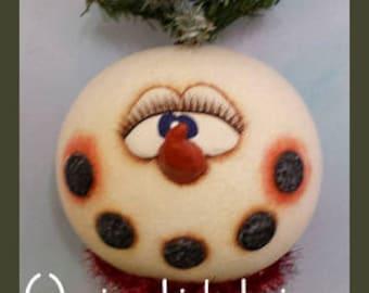hand painted snowman gourd make do nodder winter evergreen tree cardinal battery candle light birds prim chick lisa robinson teamhaha ofg