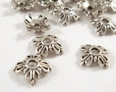 50 Antique Silver Bead Caps 4 Petal Filigree Flower Tibetan Style LF 8x2mm - 50 pc - F4182BC-AS50