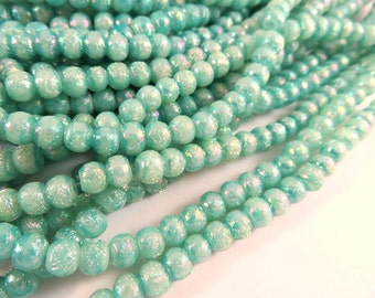 100 Teal Glass Beads, Green Matte AB Small Shimmery Pearlized Finish 4-5mm Pearls - 100 pcs - G6080-T100