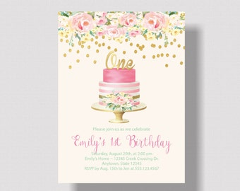 GIRLS FIRST BIRTHDAY Invitation Pink and Gold Glitter | Watercolor Floral 1st Birthday Invitation for Girl Pink and Gold | Boho Shabby Chic