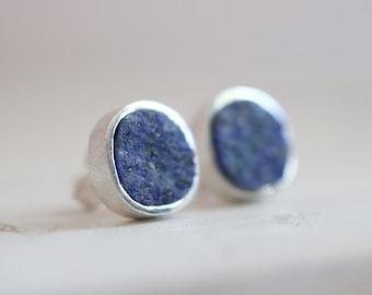 Gretel earrings. Sterling silver earrings with natural Lapis lazuli. Lapis studs, Lapis earrings, raw Lapis lazuli, blue Lapis earrings.