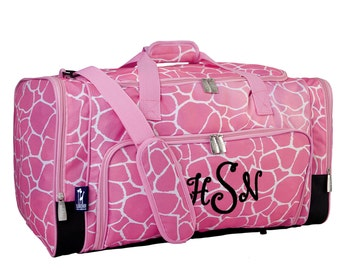 Personalized Duffle Bag Pink Giraffe, Monogrammed Dance Bag, Luggage Bag, Gym Travel Overnight
