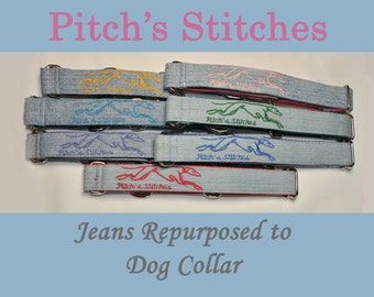 PitchsStitches' Martingale Collar Greyhound Embroidered Re-purposed Denim Eco-Friendly Custom Made in 1, 1.5 and 2 inch Width