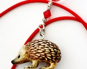 RESERVED 7 Hedgehog Christmas Ornaments Red Swarovsky Crystal Wire Wrapped by Hendywood