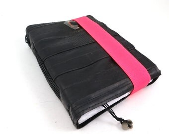 Journal, recycled bicycle inner tube, handmade blank, medium. Neon pink colored elastic closure