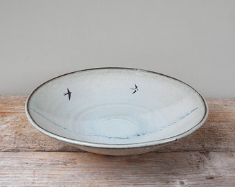Large Blue Swallows Serving Bowl