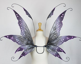 Fairy Wings in Black, Gray, and Purple, Adult sized, Handmade, Perfect for costume, fairy photography, cosplay, Halloween, festival