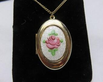 Vintage Rose Locket on Chain