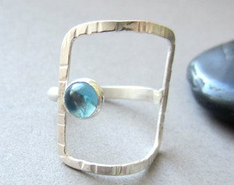 "blue topaz silver ""Open Window"" rectangle ring size 6 READY TO SHIP"