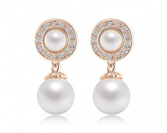 6g 4g 2g (4mm 5mm 6mm) / Dangly Pearl Wedding / Plugs Gauges Stretchers Earrings / Stretched Gauged Ears