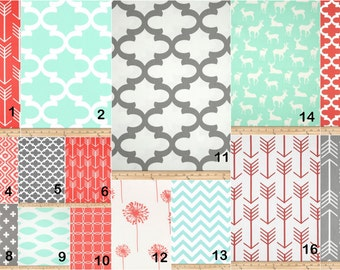 Minty Coral crib set -  Design your own 2 or 3 pcs. SET Custom crib Bedding