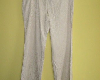 High Waisted Pants . Wide Leg Pants . cream damask pants . high waisted damask pants  . 14P