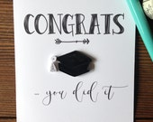 quilled black grad cap card // CONGRATS ... you did it // graduation // highschool // collage // university // kindergarten // made in Canad