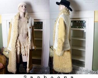 60s 70's boho lambskin mongolian fur coat leather shearling suede tan Penny Lane Western festival hippie crochet Burning Man Coachella