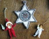 Cotton Batting Clock Star and Santa Claus figures Lot of 3