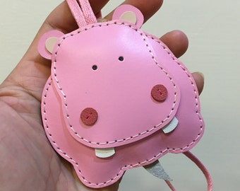 Big size - Hugo the Hippo cowhide leather charm ( Baby Pink )