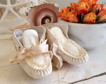 Antique Baby Moccasins Child's Shoes Ivory White