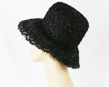 Marche Wide Brim Hat Black Lacy Sheer Straw Sz 21