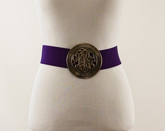 Vintage Belt Medium Purple Wide Stretch with Medallion Clasp Sz 36