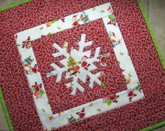 SNOWFLAKE Mini Quilt Collection Christmas  from Quilts by Elena Applique Wall Hanging Table Topper