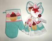 Kitchen Towel Set - Kitchen Angel - Kitchen Towel Angel - Cupcake Towel Set - Kitchen Set - Cupcake Oven Mitt - Hot Pad - Dish Towel Angel