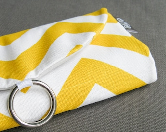 Traveler Gift. Stud Earring Holder. Yellow Chevron Jewelry Travel Organizer. Travel Jewelry Roll. Gift for Mom. Birthday Gifts for Women.