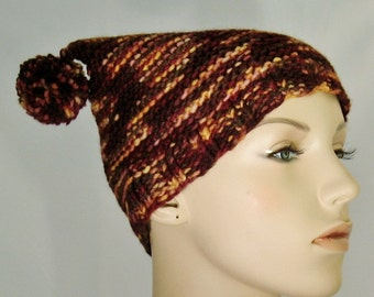 Hat, pom pom, brown multi, flat hat, malabrigio yarn, rust, gold, F, knits