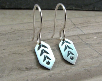 Small Silver Earring Crystal Leaf Design - Geometric Small Dangle Earrings - Nature Inspired Modern Tribal Earrings