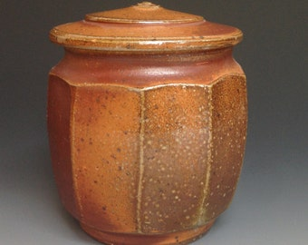 Jar with Faceted Sides.  Soda Fired Stoneware Pottery