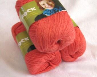 Wool Soysilk Hemp blend yarn, salmon orange red, worsted weight yarn, Shirley