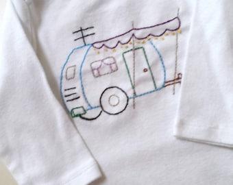 Retro Camper Van Hand Embroidered Bodysuit