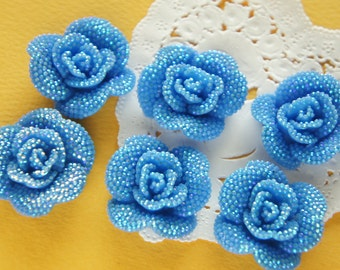 6 pcs Bling Rose Cabochon (29mm31mm) AB  Blue FL362