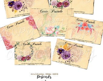 Instant Download  - Postcards and Watercolor Flowers  - Digital Download  - Craft Supply - Embellishment -  Printable Collage Sheet